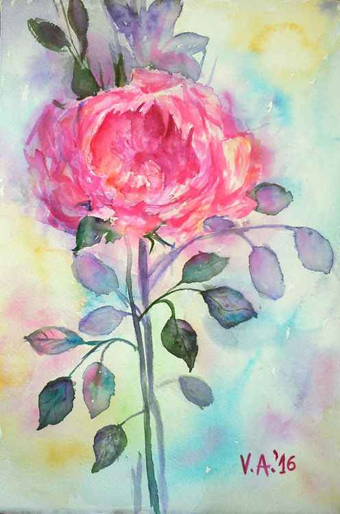 Pink rose floral painting -