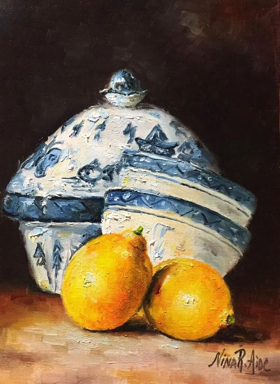 Delft Blue Vase and Lemons - Image 0