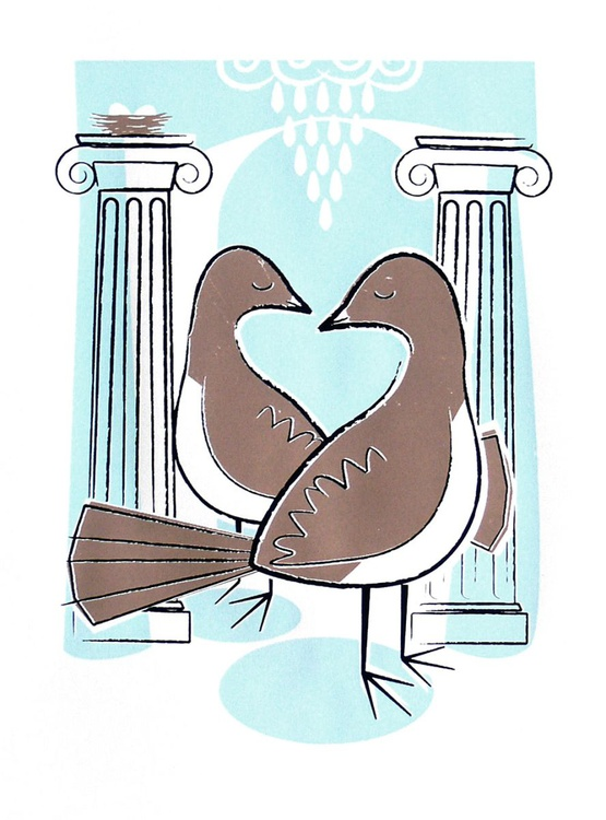 Pair of Nesting Doves with Greek Columns - Image 0