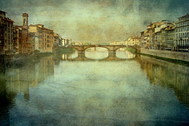 -- Florence - View from the Ponte Vecchio  - Canvas 75 x 50 cm - Image 0