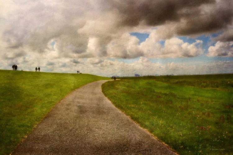 A Walk on the Dike - Canvas 75 x 50 cm - Image 0
