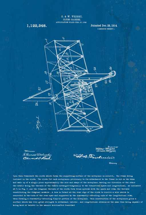 Orville Wright Flying Machine Patent 1914
