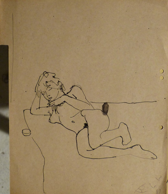 Reclining Nude, on divider paper 22x27 cm - Image 0