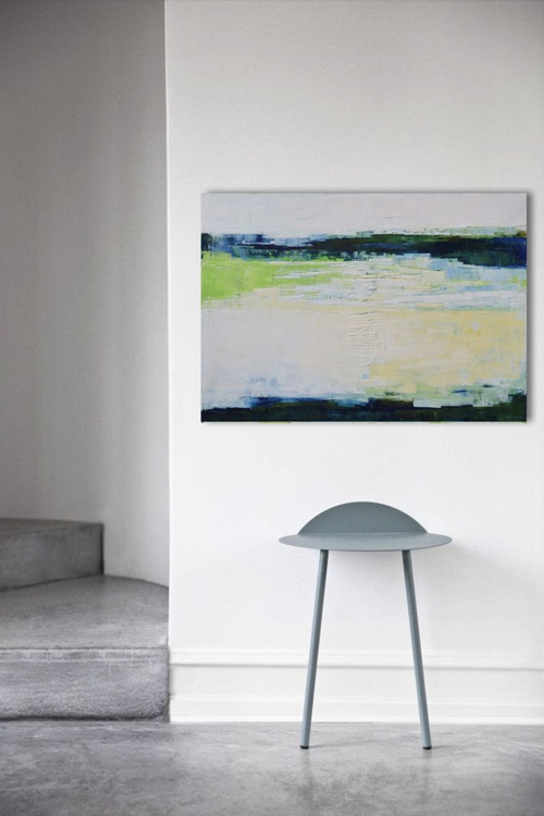 Abstract painting, white, blue and green, modern, minimalist large canvas art 39.37/27.5(100/70cm).Lake 05. - Image 0