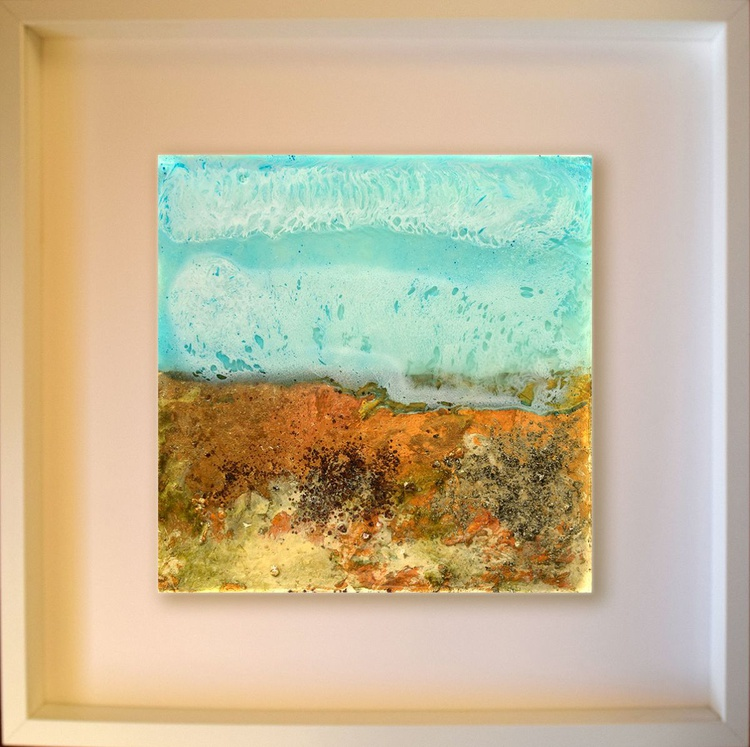 The beach  / Abstract / Mixed Media on wooden box - Image 0
