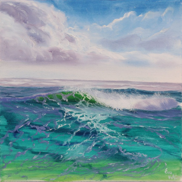 "Ocean Waves XIII 12x12"" small seascape oil painting on canvas - Image 0"