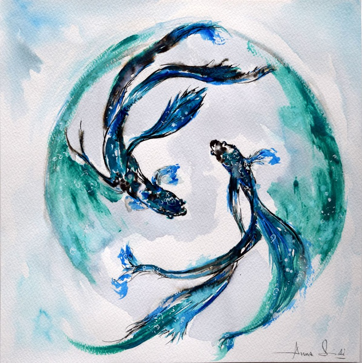 Koi fishes/ Watercolor - Image 0