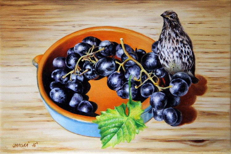 Still life with  grapes and  bird - Image 0