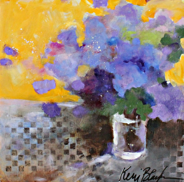 Purple Flowers in a Yellow Room - Image 0