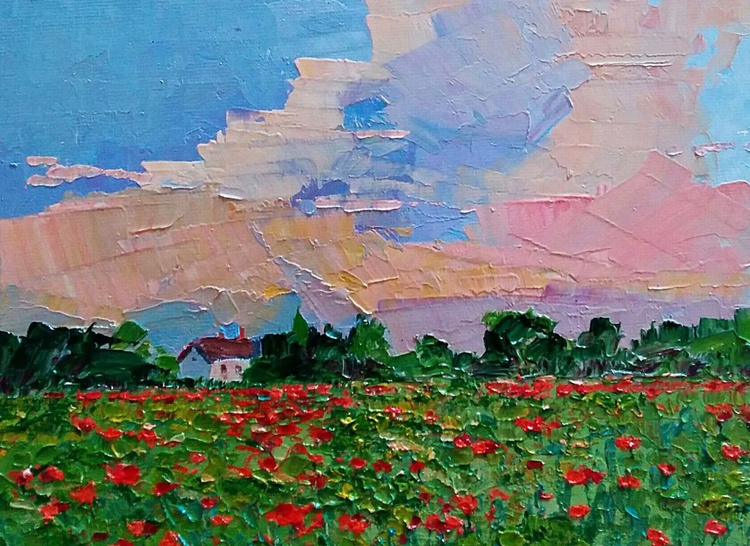Small Paintings, Morning poppies, landscape - Image 0