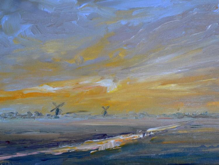 Windmills Kinderdijk evening - Image 0