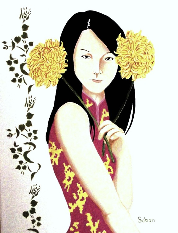 Oriental Girl with Flowers - Image 0