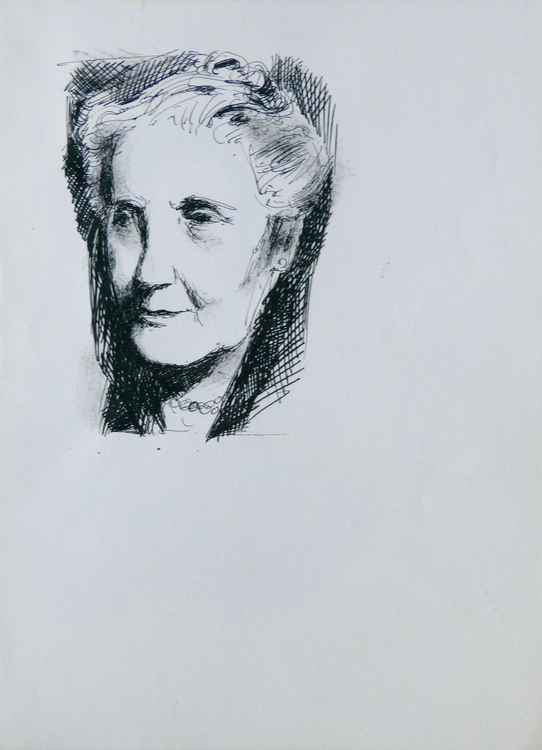 Portrait of an old lady, 24x32 cm -