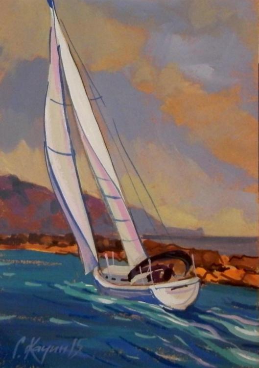 Yacht. Original painting 30x21 cm - Image 0