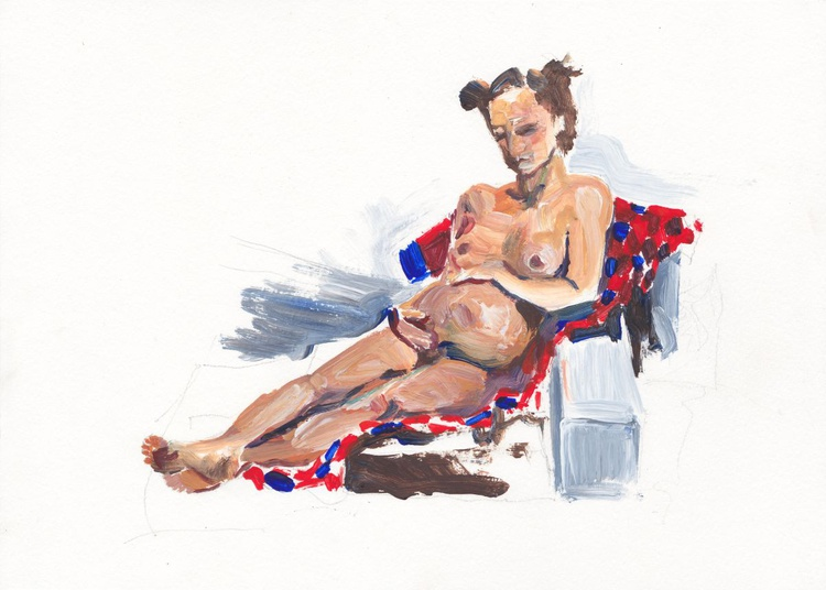 reclining on a checked blanket life drawing #09 - Image 0
