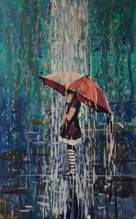 The girl under an umbrella. original painting 18x29 cm - Image 0