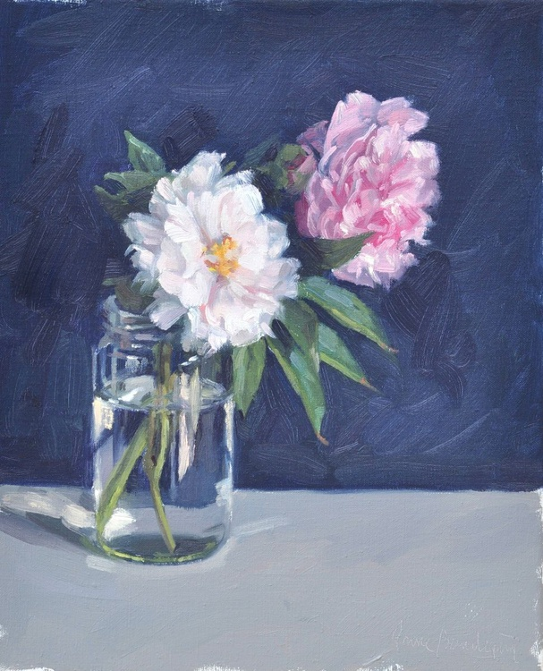 Peonies,  blue background - Image 0