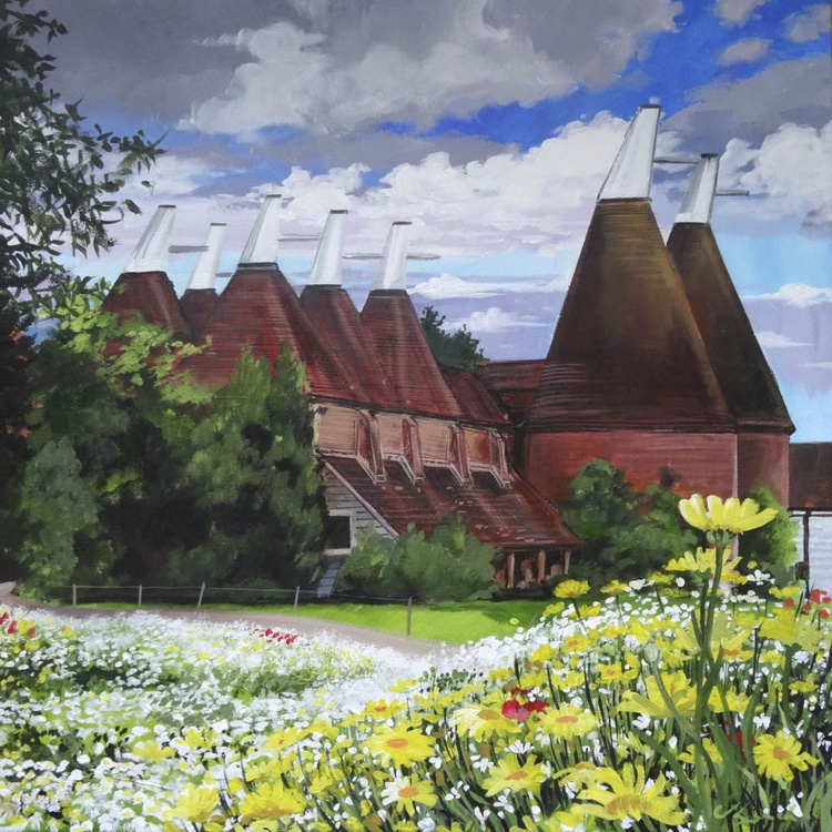 Oast Houses and Wild Flowers - Image 0