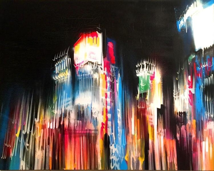 'Tokyo Rain' - Original painting on canvas - Image 0
