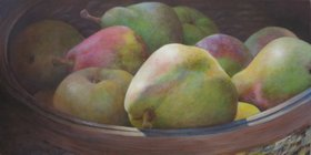 Basket of Apples and Pears by Linda Kuhlmann