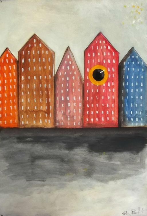 cityscape of Monolocali Biculi - oil on paper - Image 0