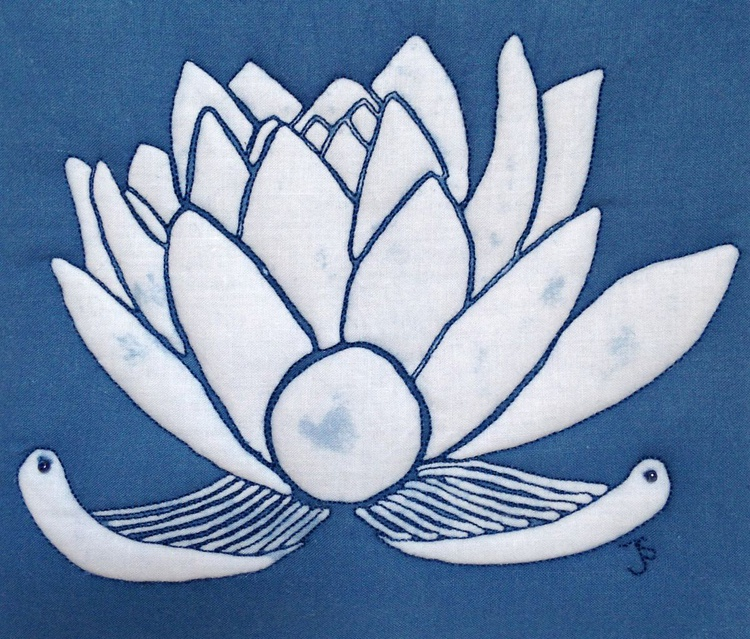 White and Blue Lotus Flower - Image 0