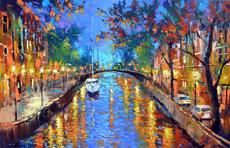 "Romantic evening - Oil, acr. Painting on Canvas by Dmitry Spiros. Size: 28""x40"" (70 cm x100 cm) - Image 0"