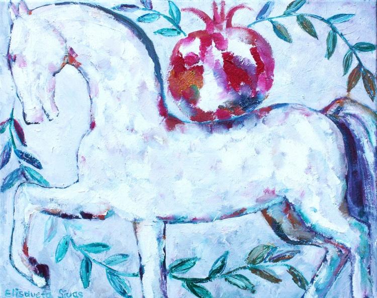 WHITE HORSE WITH POMEGRANATE - Image 0