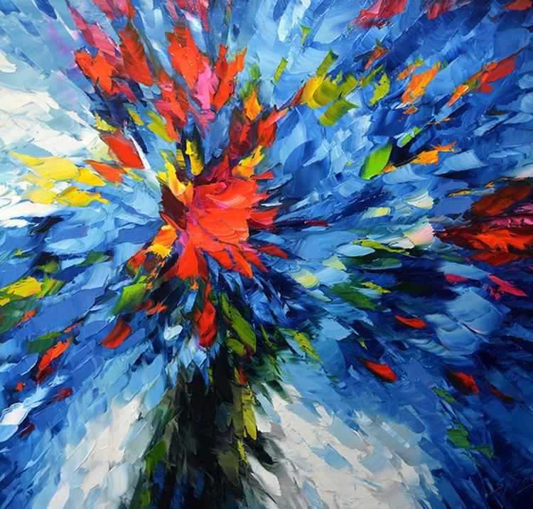 "Flowers in blue - Original Oil acr. palette knife Painting, Size: 110cm x 100cm, (44""x 40"") - Image 0"