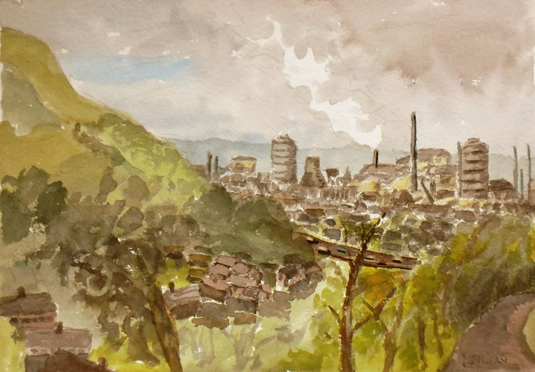 Tata Steelworks at Port Talbot An original watercolour painting. Signed and ready to go! - Image 0