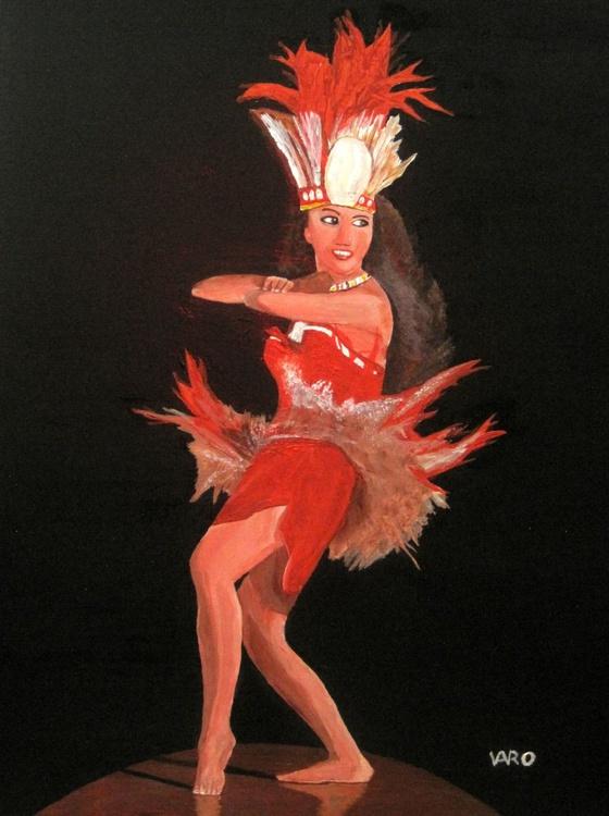 Polynesian Girl Dancing in Feathers - Image 0
