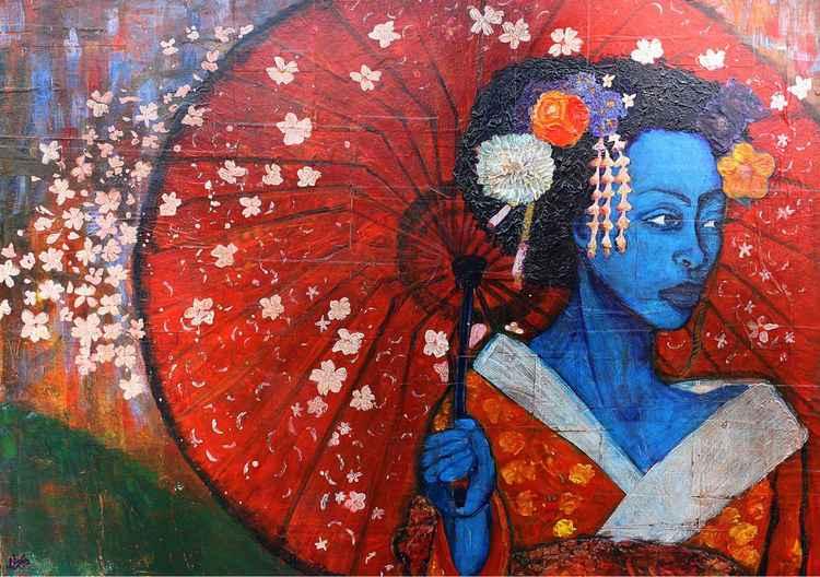 Geisha with red umbrella -
