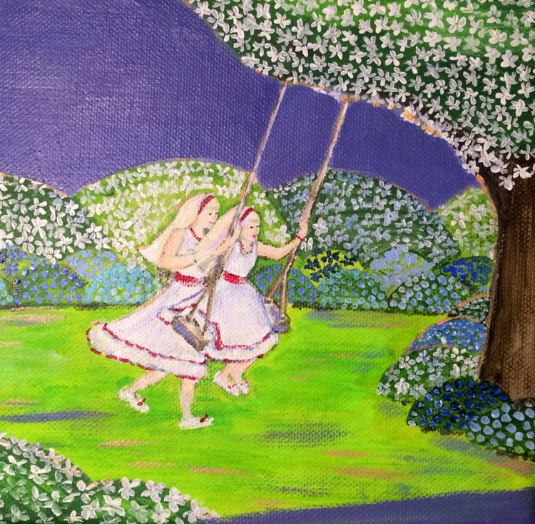 YES AND NO - TWO BLOND GIRLS AND THE SWING - BLUE GARDEN COLLECTION - Image 0