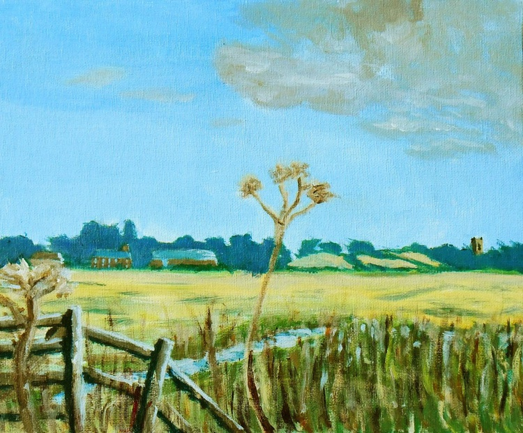 Across the marshes in Norfolk is a typical Norfolk landscape painted on location last week. Lovely Gift. - Image 0