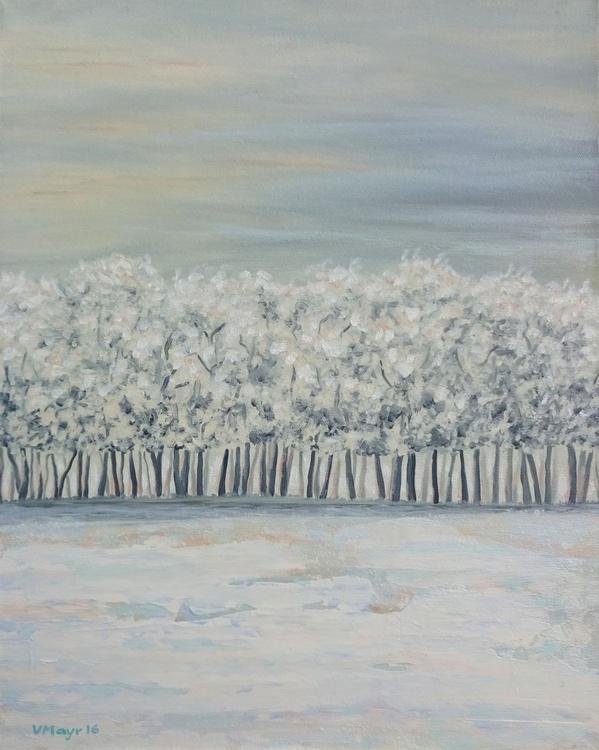 Weiße Landschaft - Ölbild 50 x 40 cm - Image 0