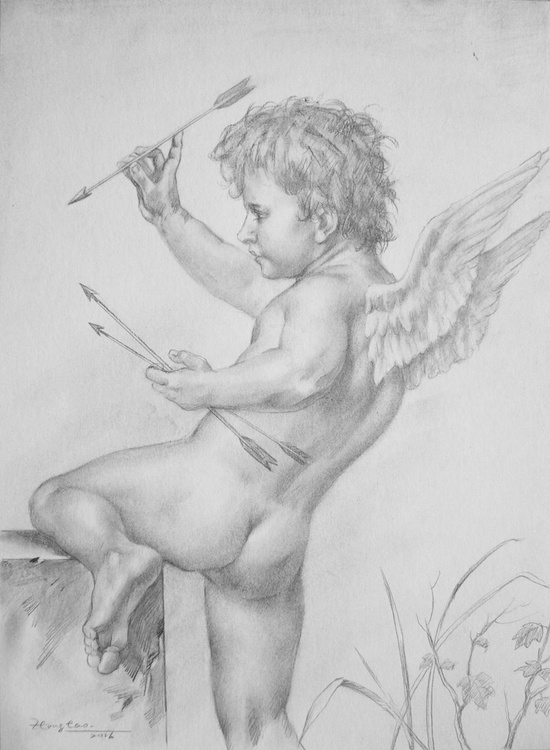 original art drawing pencil Cupid's arrow  on paper #16-9-7 - Image 0