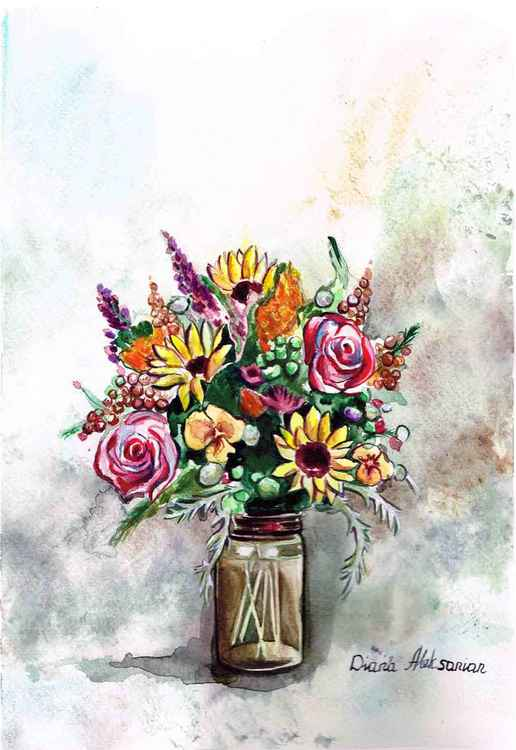 Still Life with wild flowers, Sunflowers, Roses in a jar -