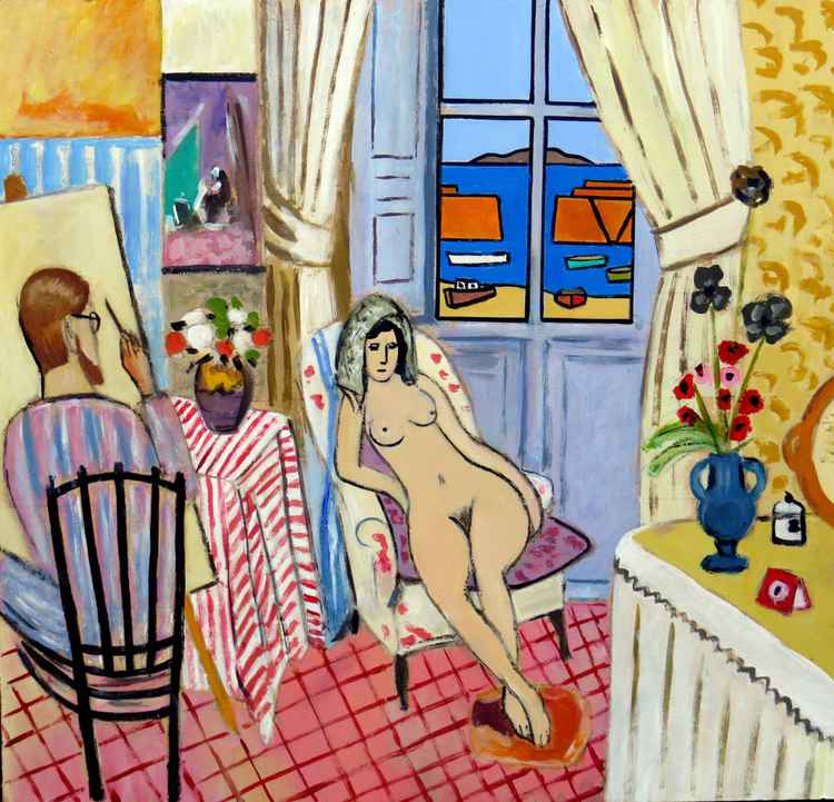 The artist and his model, Mousehole  (after Matisse) -