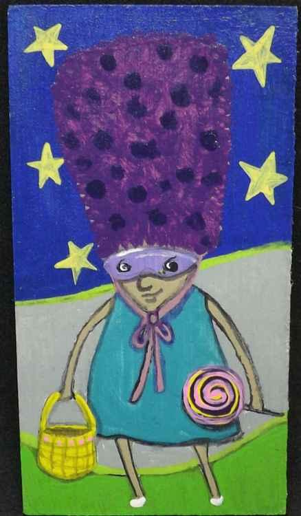 Purple Hat Weirdie with Lollipop Original Painting on Wood -