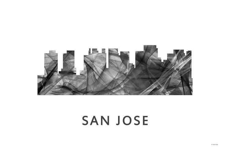 San Jose California Skyline WB BW -