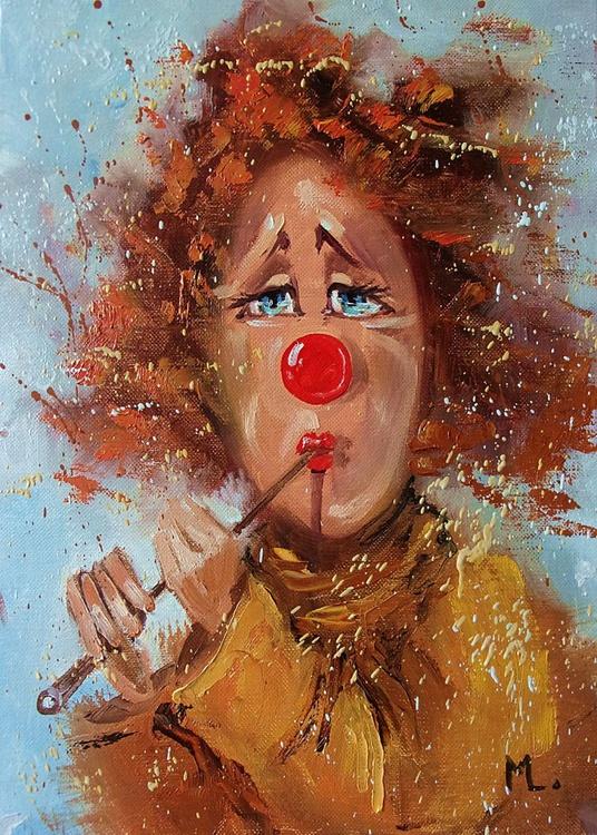 """ HAPPY BIRTHDAY :) "" clown original painting palette knife GIFT MODERN URBAN ART OFFICE ART DECOR HOME DECOR GIFT IDEA - Image 0"