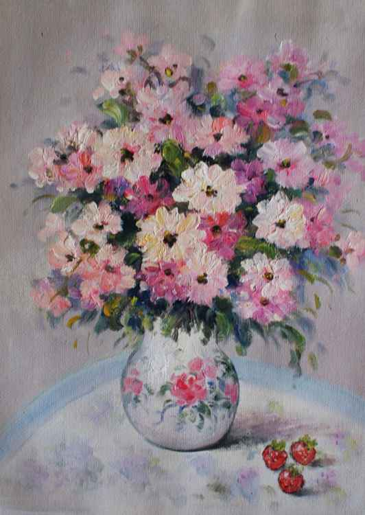 """Flowers in vase3"""" . size 30x40. Canvas/oil. FREE SHIPPING"""" (2016) -"""