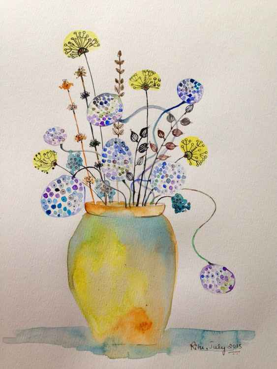 Wildflowers in a yellow jar