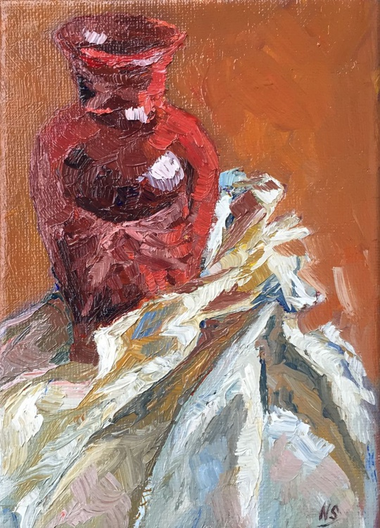 Red Vase and Fabric - Original Still Life - Image 0