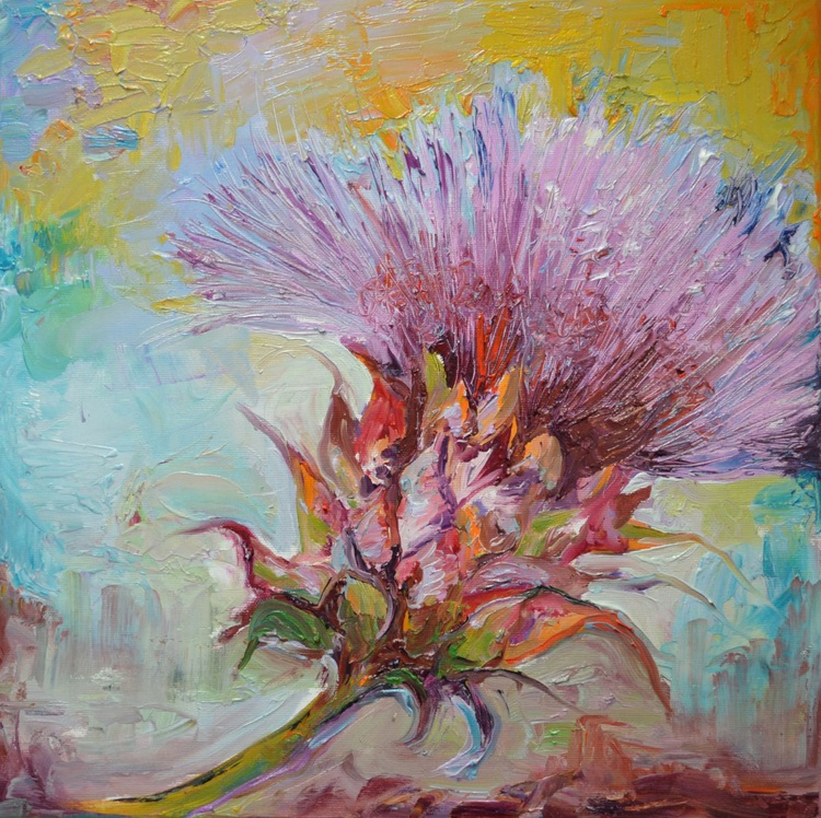 Thistle Modern Ready to Hang Painting - FREE SHIPPING - Flower Oil Painting, Floral painting - Image 0