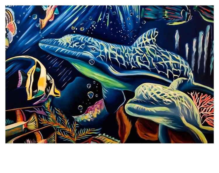I delfini e l'Oceano,olio su tela, 120x150cm,2013
