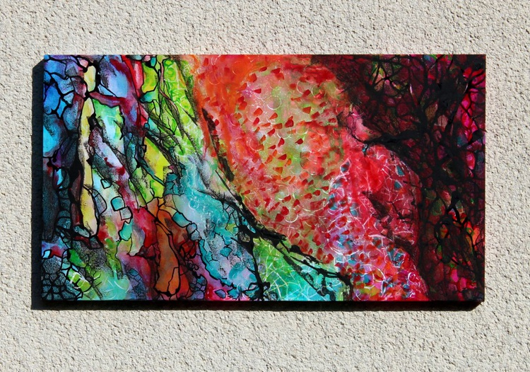 Melting desires - Original Abstract Painting 50x90 on deep edge frame - Image 0