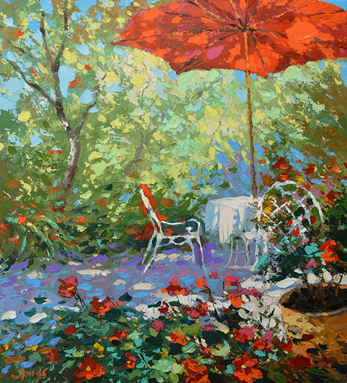 "In the summer garden - Oil acr. Painting on Canvas by Dmitry Spiros. Size: 58cm x 64 cm, (23""x26"") - Image 0"