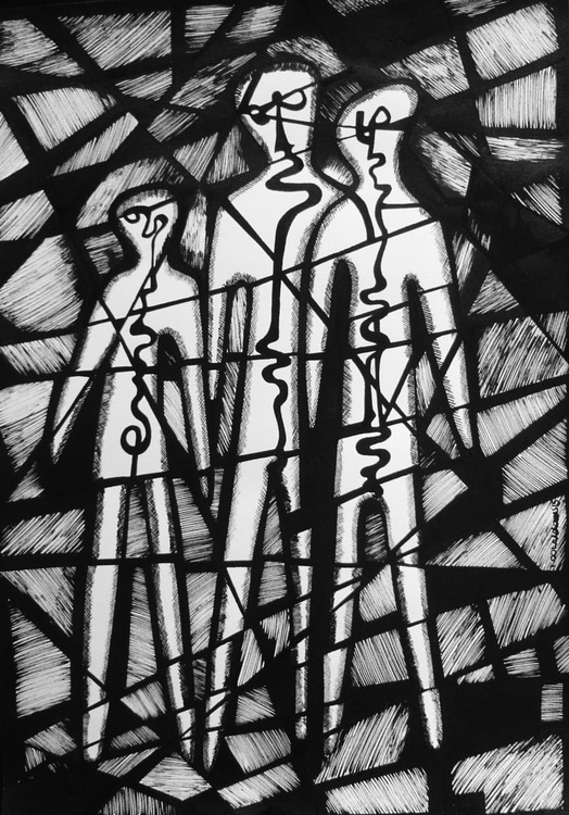 Three Abstracted Figures - Image 0