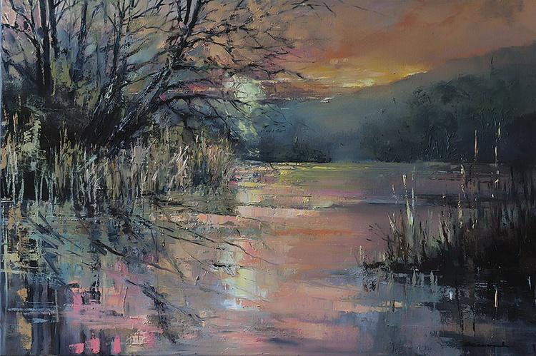 'April Sunset at Blashford Lakes' - Image 0